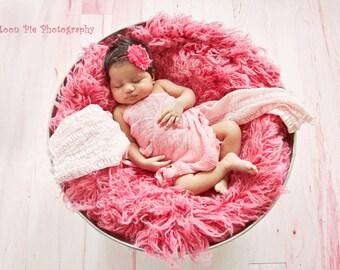 Hot Pink Infant and Toddler Headband Shabby Chic Flower Headband Newborn Baby Girl Headband