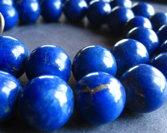 Large Lapis Lazuli beads Rounds slightly graduated 12-13mm 8 inches AAA natural stone Afghanistan
