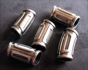 Greek Slider Tube Beads Sterling Silver - 2 beads - 5mm hole - 15mm X 8mm