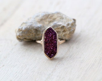 Druzy Hexagon Gold Ring , Purple Statement Gemstone Ring , Gold , Sterling Silver , Rose Gold , Gift Ideas - Aubergine