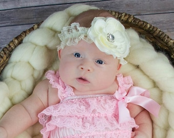 Lace Rhinestone Baby Flower Headband / Photograpy Prop U Pick Color