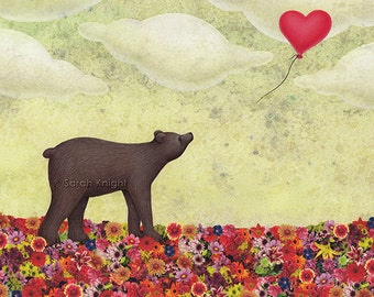 the bear and the heart-shaped balloon, signed digital illustration art print 8X10 inches, whimsical childrens decor yellow red flowers cute