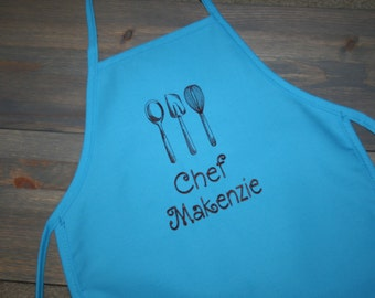 As seen on Giada at Home--Kitchen Utensils--Custom Embroidered Girls Apron-- -2 youth sizes available and a variety of colors
