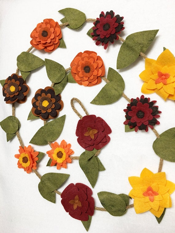 Flower Garland, Fall Flowers, Felt Flower Garland, Rustic Twine, Room Decoration - Made to Order, Wedding, Party Decoration, Gift under 50