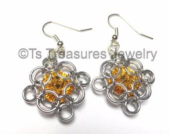 Sunflowers - Chainmaille wrapped Swarovski Rivoli Earrings