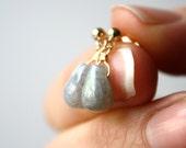 Grey Stone Earrings . Gray Stud Earrings . Labradorite Earrings . Dangle Post Earrings . Grey Drop Earrings - Mako Collection