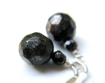 Black Chalcopyrite Earrings . Sparkly Earrings . Science Earrings . Astronomy Jewelry . Sterling Silver Gemstone Earrings Black