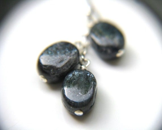 Blue Kyanite Earrings . Natural Gemstone Cluster Earrings . Blue Dangle Earrings . Wire Wrapped Earrings - Cirrus Collection