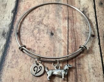 Dachshund initial bangle - dachshund jewelry, doxie jewelry, weenie dog jewelry, dachshund bangle, doxie bracelet, silver dachshund bracelet