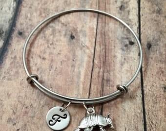Armadillo initial bangle - armadillo jewelry, Texas jewelry, silver armadillo bracelet, Texas bracelet, animal bracelet, gift for Texan