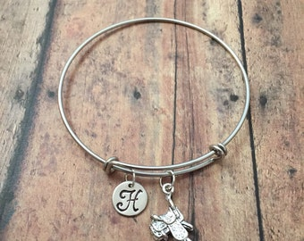 Saddle initial bangle - saddle jewelry, cowboy jewelry, gift for cowgirl, rodeo jewelry, western jewelry, horse saddle bracelet