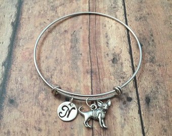 Chihuahua initial bangle - chihuahua jewelry, dog breed jewelry, silver chihuahua bracelet, dog bangle, gift for chihuahua owner