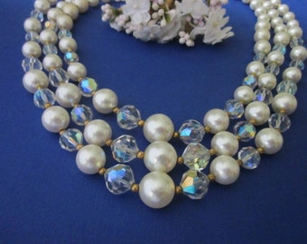 Vintage Glass Bead Necklace aurora crystal and pearls