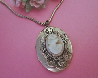 Vintage Cameo Locket Necklace