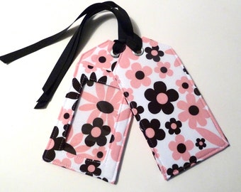 Fabric Luggage Tag - Pink and Black - Floral - Save the Date - Travel Accessories - Travel Gifts - Travel