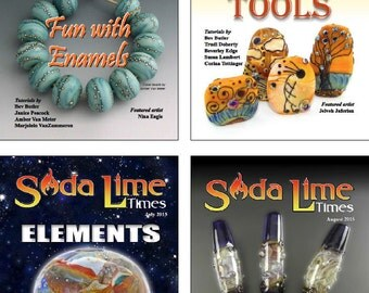 Bundle of Soda Lime Times Lampworking Magazines - May 2015 - Aug 2015