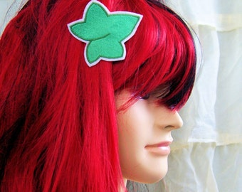 Poison Ivy Green Leaf Embroidered Hair Snap Clip MTCoffinz