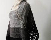 Extra Large Oversized Blanket Scarf/Wrap In Ombre Black, Grey, Light Grey, Cream. Soft, Lofty, Knit. Handknit Handmade Oversized Boho Strega