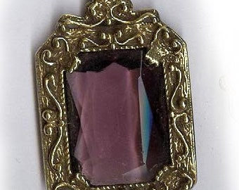vintage pendant victorian style ornate glass drop, Goldette company old finding AMETHYST color one chunky pendant