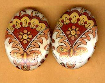 vintage glass cabochons ONE PAIR paisley -ish design cabochon flat back embellishment 25mm x 20mm cabochon 1960s vintage