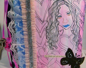 Orginal Mixed Media Altered Art book/ Be Brave