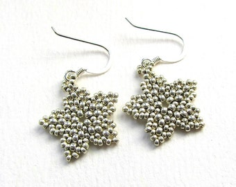 Beaded Blossom Earrings, Metallic Silver Colour Seed Bead Flowers Handstitched