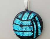 Volleyball Necklace Pendant - Water Polo Necklace Pendant - Dichroic Fused Glass - Carolina Blue - Free Shipping