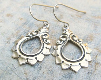 Silver Lotus earrings - yoga jewelry - dangle drop earrings