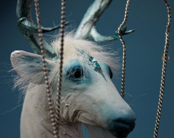"OOAK Fantasy Ice Crystal Stag Sculpture ""Polaris"" by Quequinox Art"