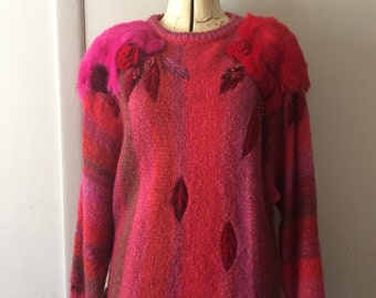80's Pink Red Stripe Sweater by Mariea Kim Velvet Roses Beaded Embroidery Rabbit Fur Shoulder Accents Medium