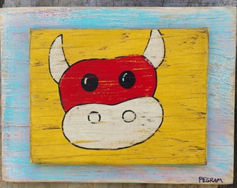 Red Cow Folk Art on Wood