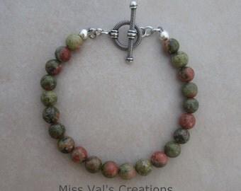unakite sterling silver bracelet