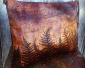 Over Sized Leather Clutch in Woodland Leather with Embossed Ferns by Stacy Leigh