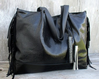 Black Leather Tote Bag in Sparkly Stingray by Stacy Leigh