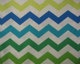 SALE - Chic Chevrons in blue and green -  2 yards