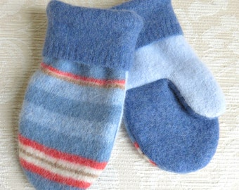 Upcycled Mittens for Kids, Felted Sweater Wool Mittens in Blue and Coral Stripes