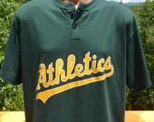 vintage 90s t-shirt oakland ATHLETICS a's mlb baseball henley tee Large XL tall