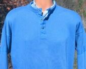 80s vintage sweatshirt HENLEY trader bay soft preppy royal blue Medium snap neckline