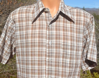 vintage 70s PLAID shirt button down short sleeve brown white butterfly collar preppy Large Medium rockstar