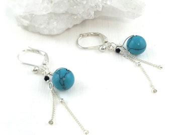December Birthstone, Dainty Silver Earrings, Solid Sterling Drop, Precious Gem Earrings, Turquoise Earrings Silver, Turquoise Gemstone