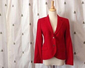 Vintage Preppy Red Wool Blazer, Tailored Jacket, Size 10, Small, Medium