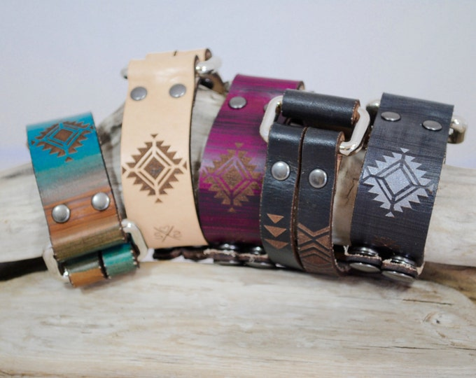 RECTANGLE | aztec | leather cuff