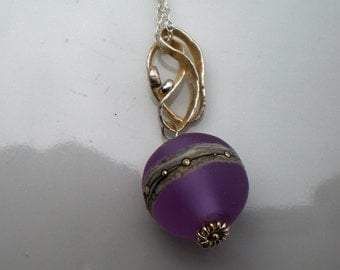 Purple Lampwork Globe Necklace with Handmade Bail and Sterling Silver Rope Chain