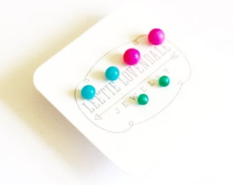 Tiny Stud Earrings Set | Neon Pink Turquoise and Teal Studs| Vintage Lucite Repurposed by Leetie