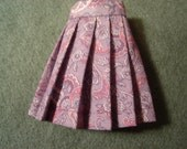 Lavender and Pink Paisley Pleated Skirt for Pullip, Blythe and Vintage Skipper