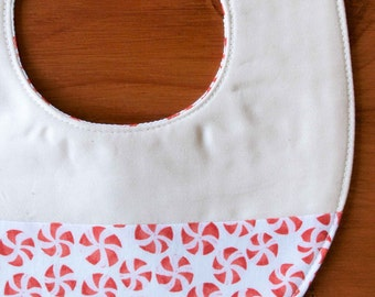 SALE, save 50% Organic Baby Bib, PEPPERMINT TWIST; Red and White Baby Bib Gift by Organic Quilt Company