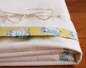 Organic Baby Blanket, HOOTENANNY; Owl Baby Blanket, Citron Green Bound-Edge Baby Blanket;Organic Baby Blanket Gift by Organic Quilt Company