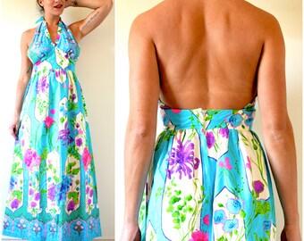 SUMMER SALE/ 30% off Vintage 60s 70s Floral Halter Back Cotton Maxi Dress (size small, medium)