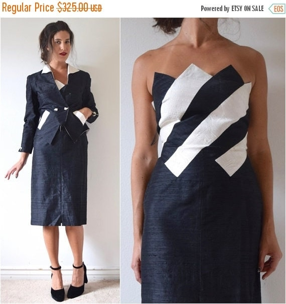 SUMMER SALE / 20% off Vintage 80s does 50s Black and White Striped Paneled Thai Silk Strapless Wiggle Dress and Matching Jacket Suit Set (si