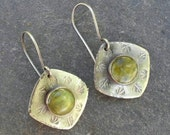 Green Serpentine Oxidized Sterling Silver Leaf and Flower Stamped Dangle Earrings, lightweight, square diamond, green gemstone earrings